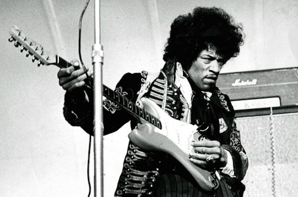 Jimi Hendrix performing in 1967