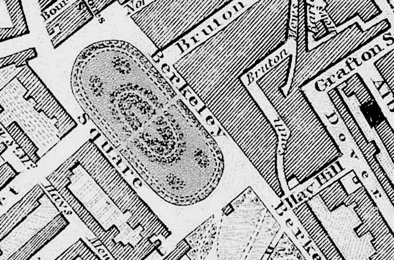 Vintage map of Berkeley Square in London
