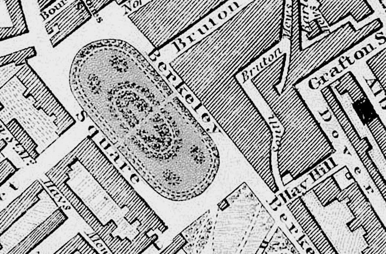 Vintage map of Berkeley Square in London