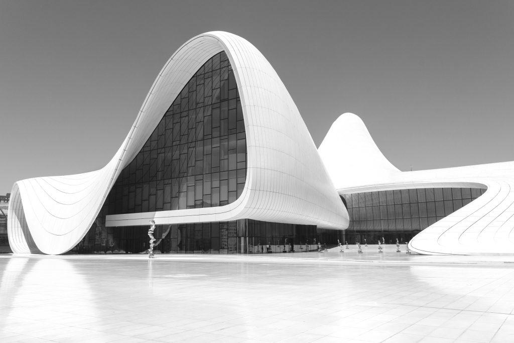 The Haydar Aliyev Centre, designed by Zaha Hadid