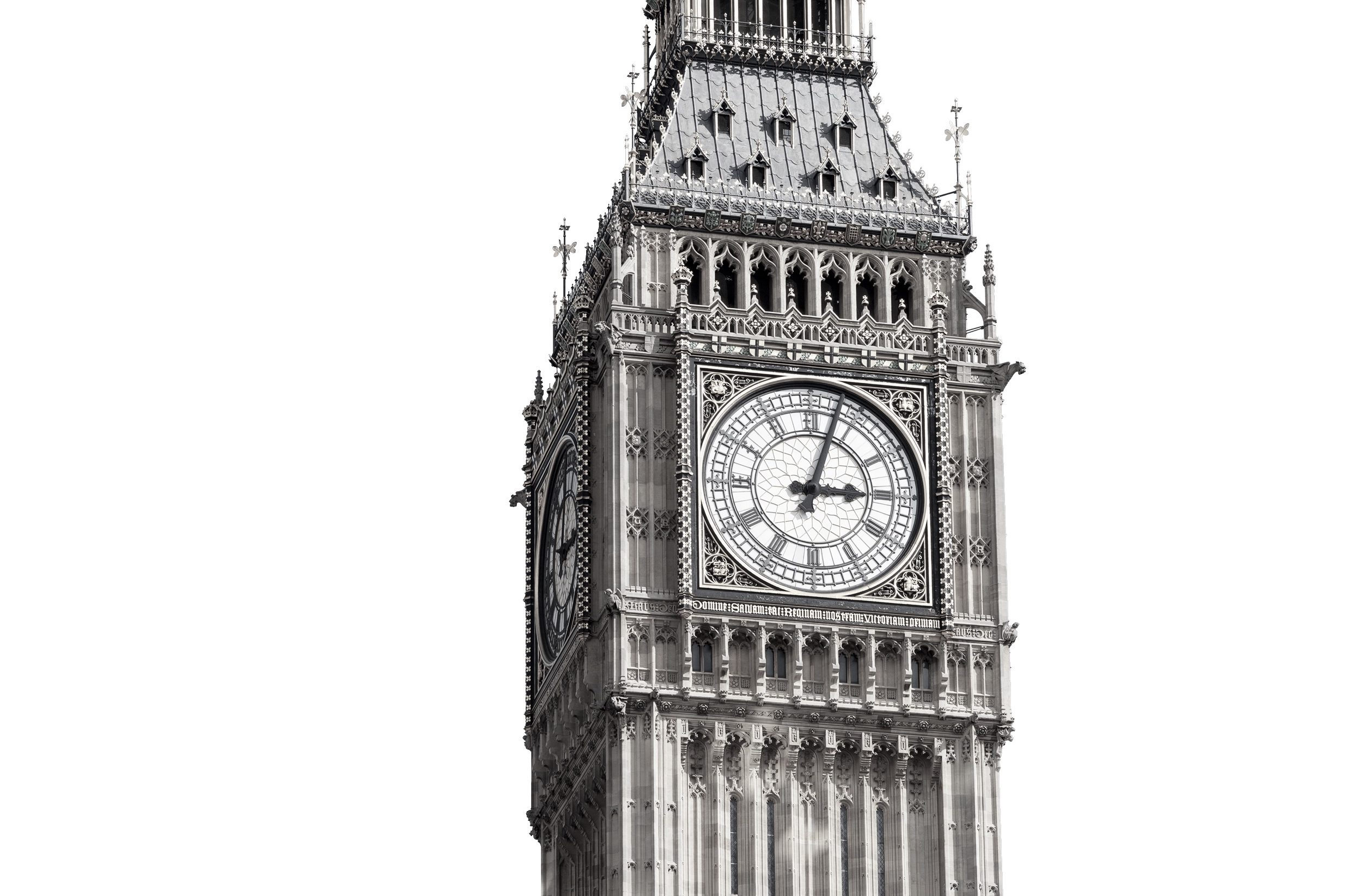 Close up view of Big Ben's clock tower