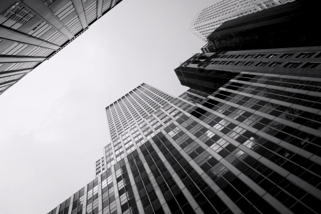 Skyscraper viewed from street level