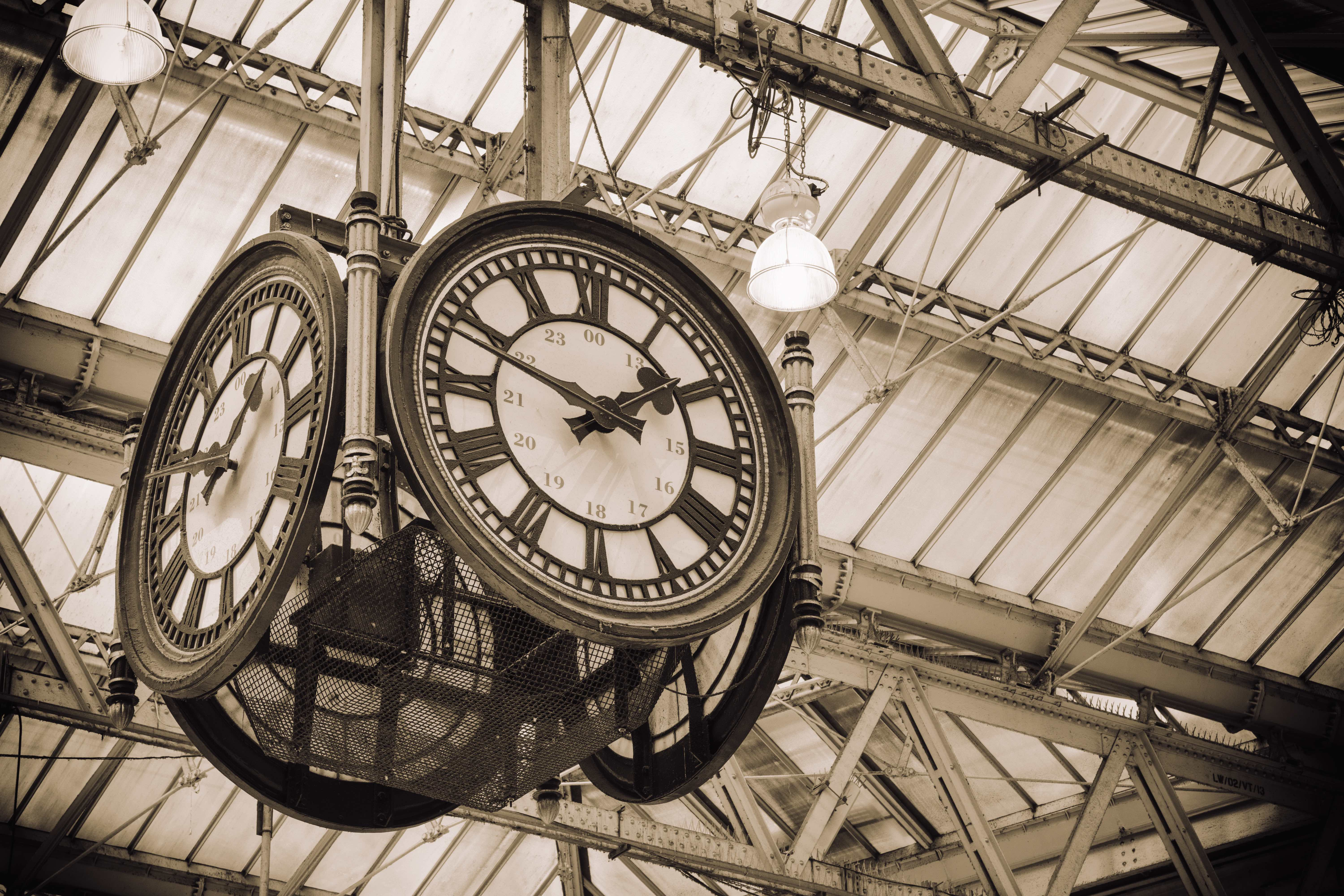 Old clock in Waterloo Station, London