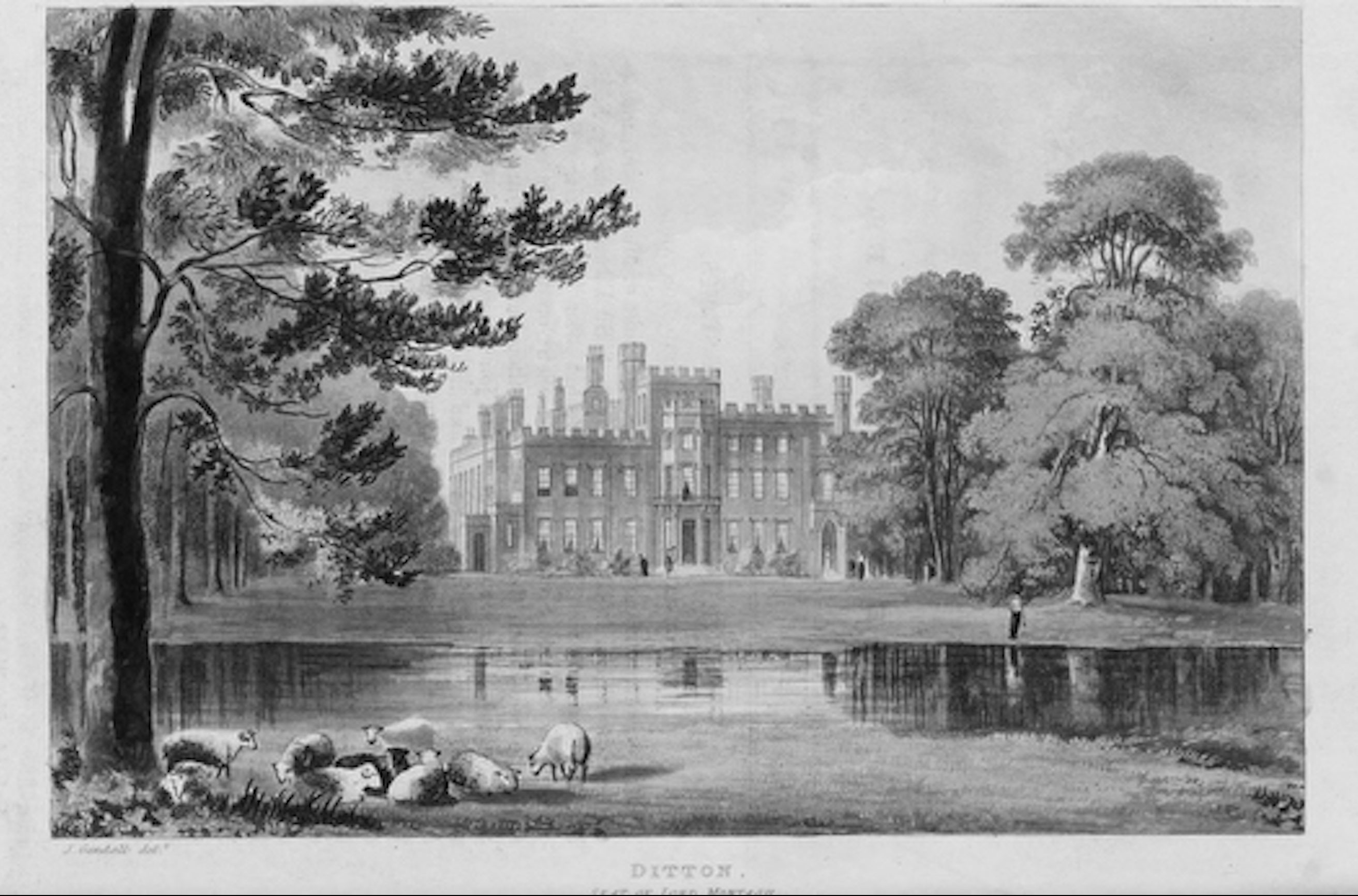 Vintage photograph of a stately home in the countryside