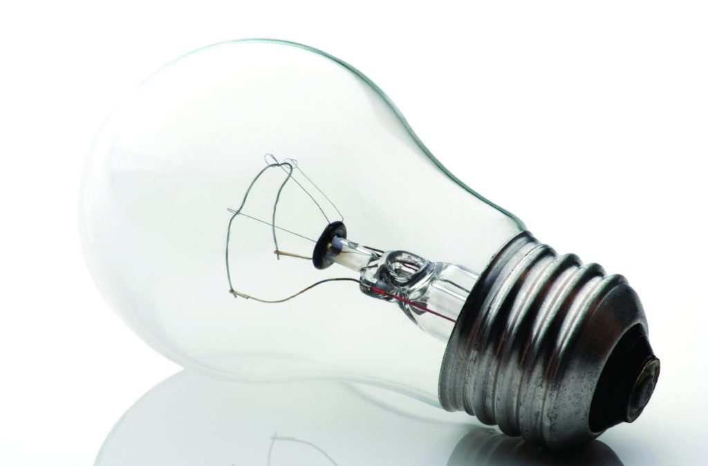 Lightbulb on plain white background