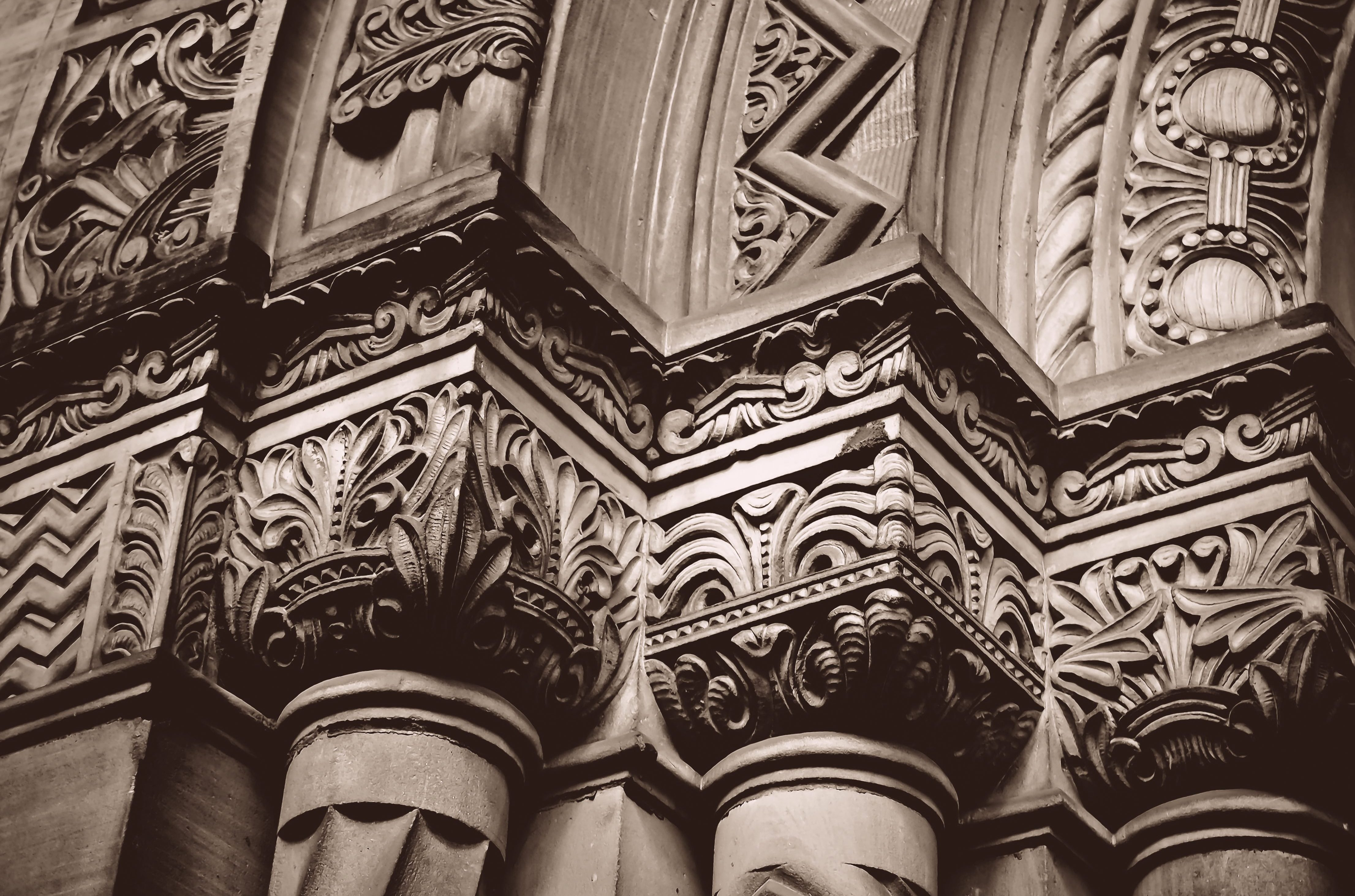 Close up of carved stonework on a doorway