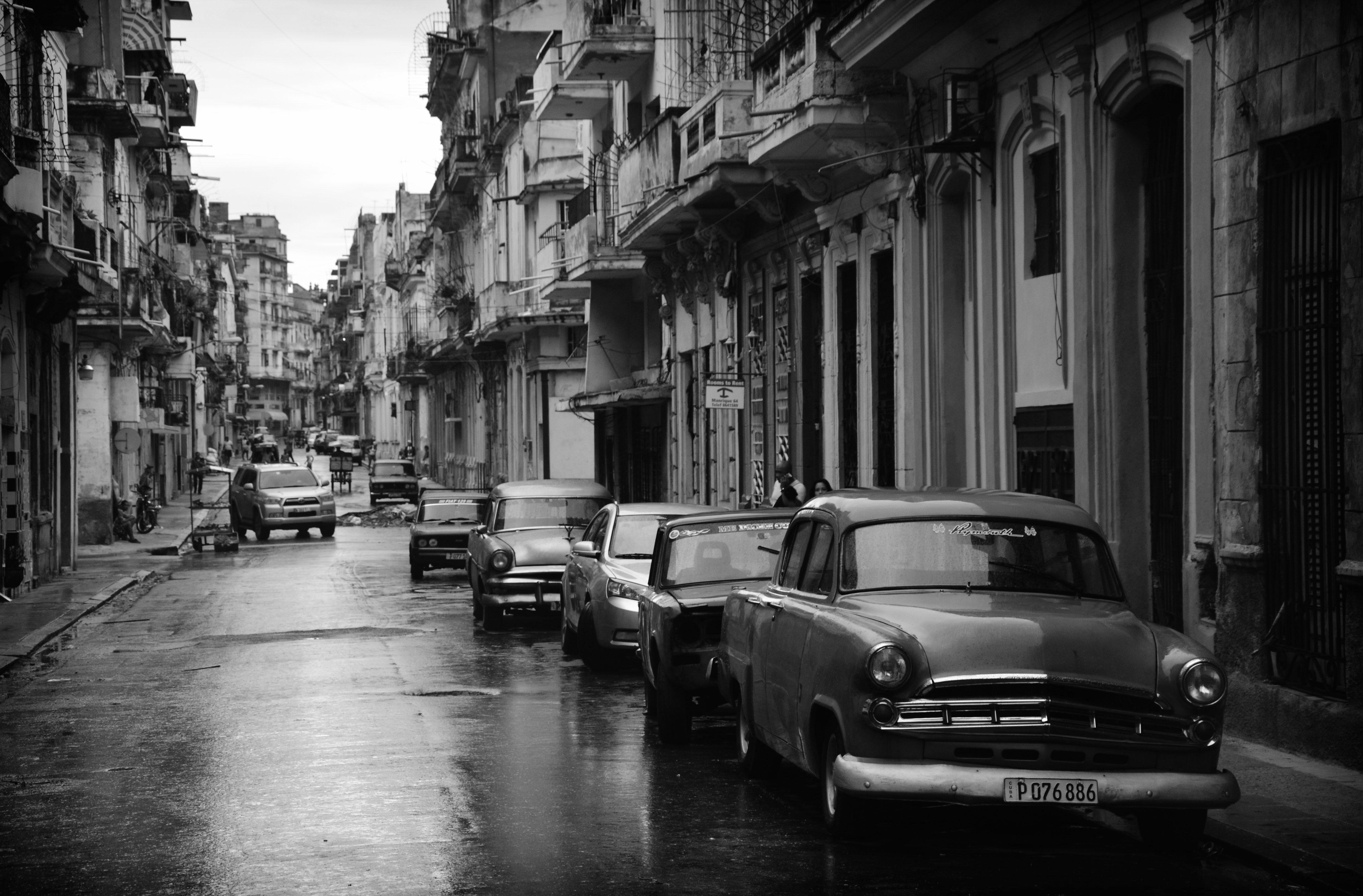 Vintage cars on a street