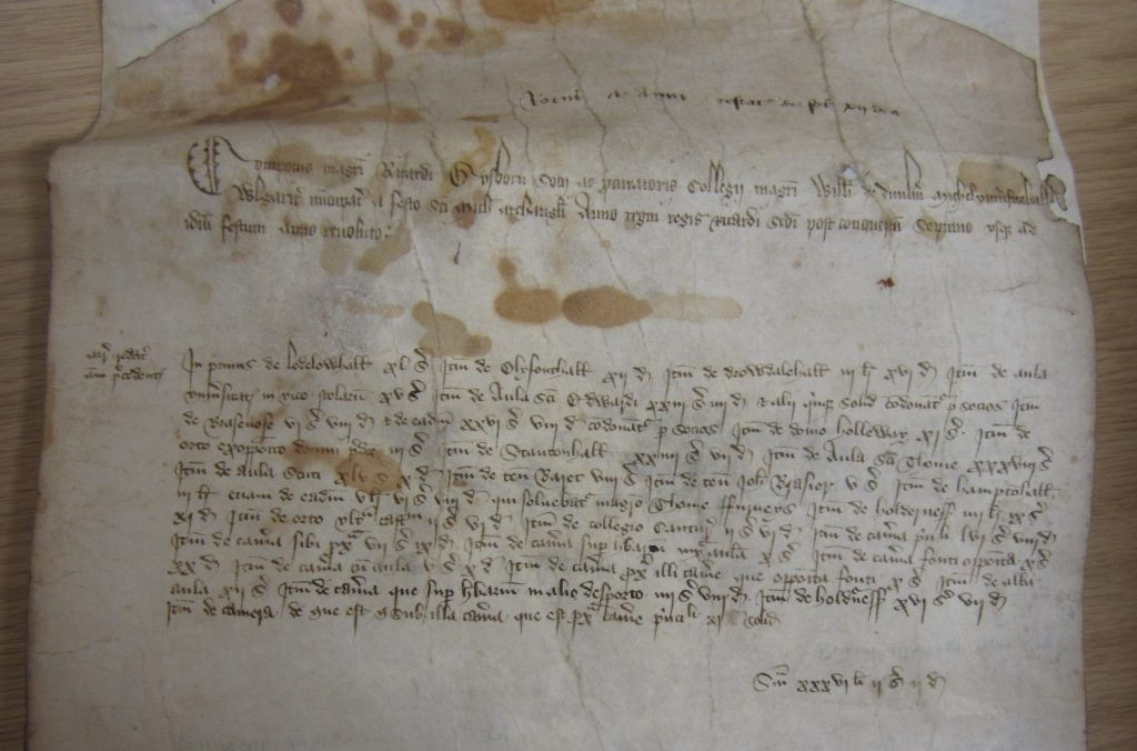 The opening of the account roll of University College, Oxford, for 1383/4