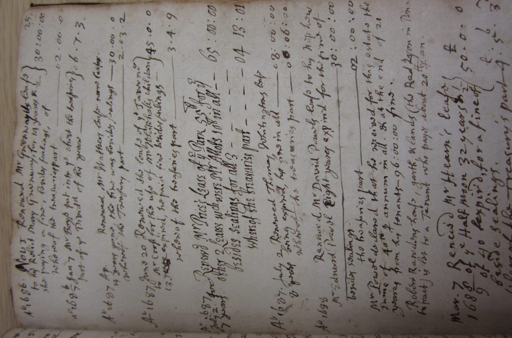 Extract for the 1680s from a register recording the payments of entry fines to University College, Oxford