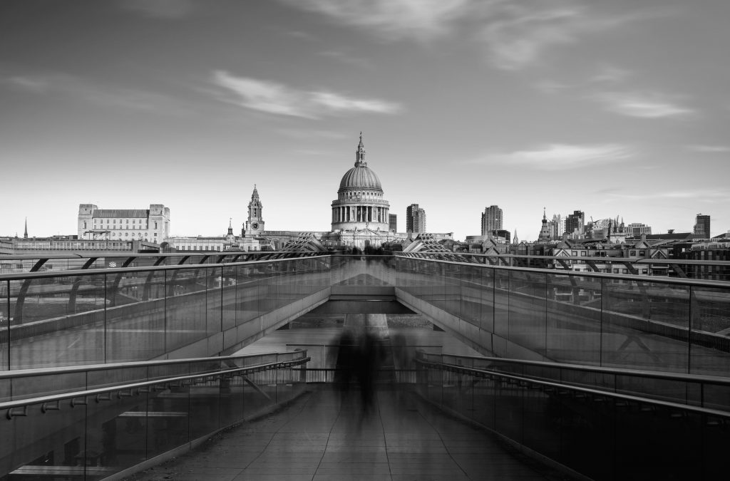 St Paul's Cathedral viewed from the Millennium bridge over river Thames, London, England.