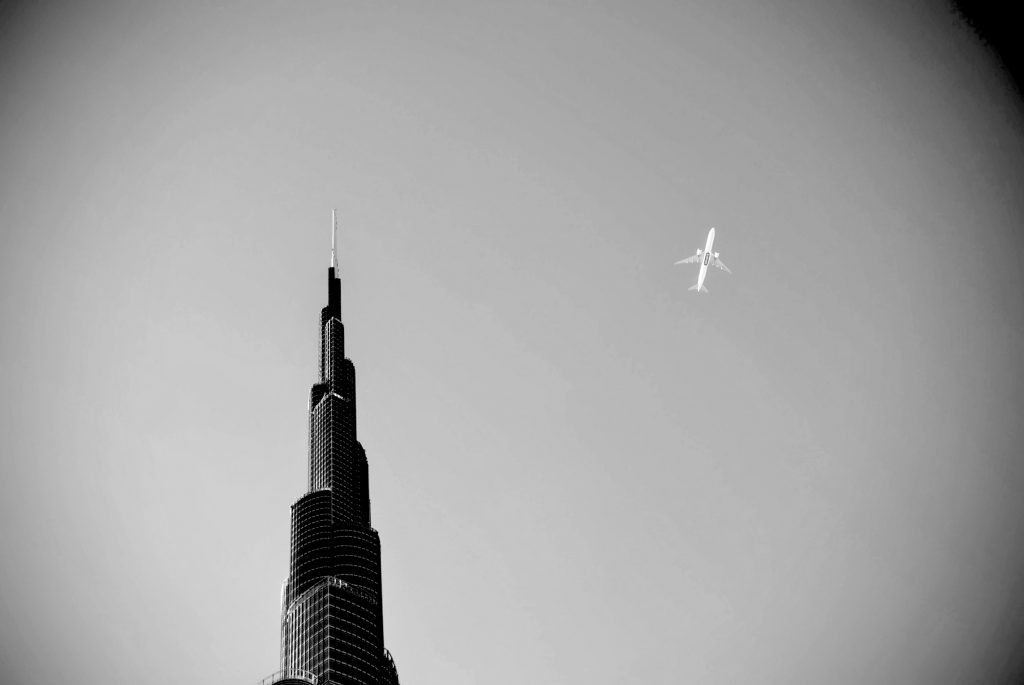 Burj Khalifa in Dubai and aeroplane