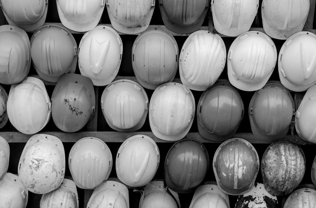 Hard hats seen from above