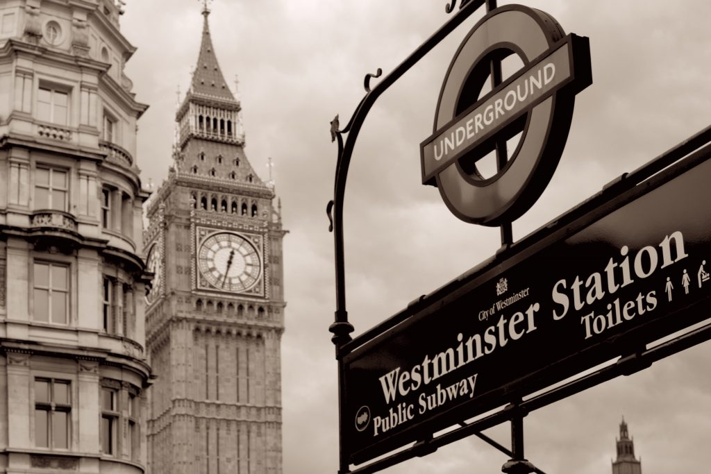 Westminster tube station with Big Ben in the background